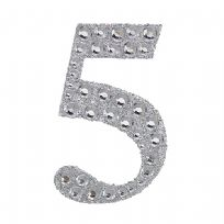 Sparkling Gemstone & Glitter Number 5 Sticker
